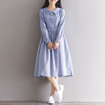 Cotton Linen Dress Autumn Winter Women Students Preppy Style Striped Office Peter Pan Collar Midi Dress Mori Girl Style Vestidos