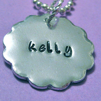 """Single Name 1"""" Scalloped Circle(Large) - Custom Hand Stamped necklace personalized for you - perfect for mom or grandma"""