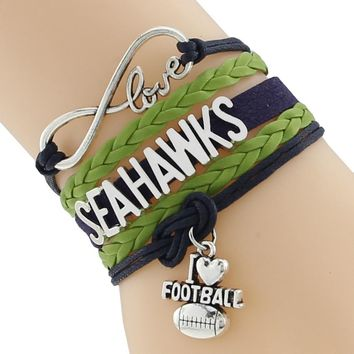 Infinity Love Seattle State Seahawks Football Team Bracelet green blue Customize Sport friendship Bracelets