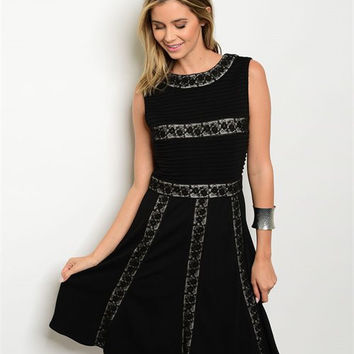 BLACK TAN LACE DRESS