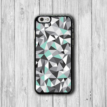 Simple Minimal Geometric iPhone 6 Cases, Grey Emerald green iPhone 5 Cover, iPhone 6 Plus, iPhone 4S Hard Case, Rubber Deco Accessories Gift