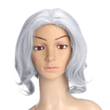 Fashion Silver Grey Mix Short Curly Wavy Women's Lady's Hair Wig Full Wigs