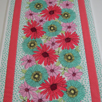 "Quilted Table Runner , Spring Floral Table Runner , ""Garden Path"" by Michael Miller"
