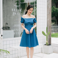 Happily Ever After - Denim Dress Puff Sleeve Dress Snow White Dress Swing Dance Dress Summer Dress Homecoming Dress Lolita Bridesmaid Dress