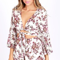 Floral Print Bow Romper