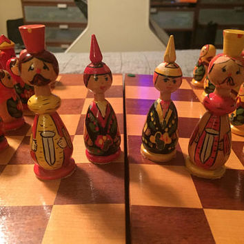 Vintage Hand Painted Chess Set from Gorki - Made in Russia - Matryoshka Doll Pawn - Unique Chess Set - Rare Collectors Chess - Display Set