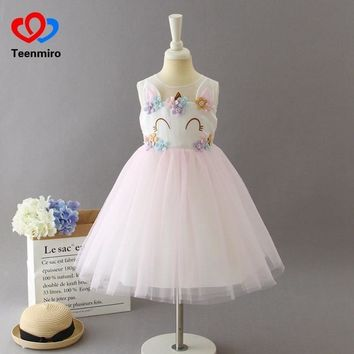 Unicorn Party Girls Brithday Dress Kids Flower Pearl Princess Costumes Baby Wedding Dresses for Girl Tulle Tutu Cosplay Clothing