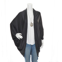 Jersey Knit Cocoon Wrap/ Draped Cardigan / Long Cocoon Jacket/ / Oversized Yoga or Excersice Wrap / Boho Cardigan / Gift for her