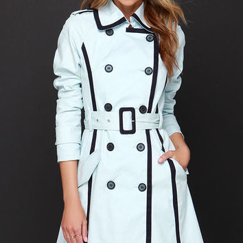 Mantova Light Blue Trench Coat