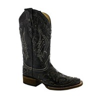 ONETOW Corral Vintage Python Inlay Cowgirl Boot Square Toe Black A2402