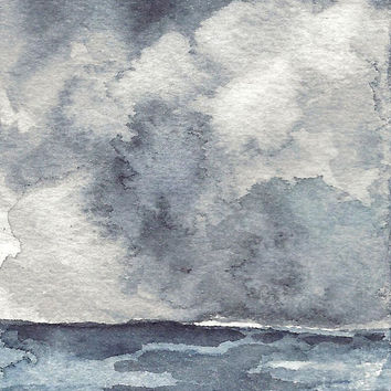 Stormy Skies Painting - Seascape Watercolor - Miniature - Black and White Artwork - ACEO