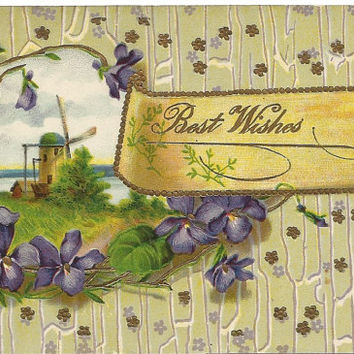 Tranquil Windmill by the Shore Purple Violets Crackled Background w/ Small Flowers Best Wishes Vintage Postcard