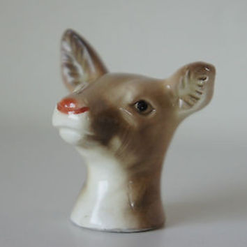 Vintage Deer Head Salt & Pepper Shaker Detailed Red Nose Reindeer