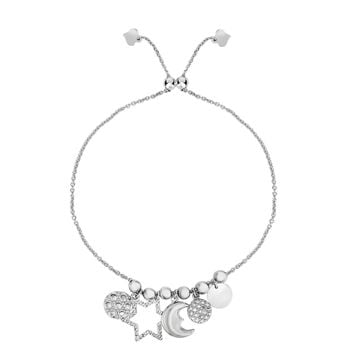 Sterling Silver Star Moon And Disc Charm Elements Adjustable Bolo Friendship Bracelet , 9.25""