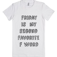 F Is For Friday (Juniors)-Female White T-Shirt