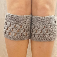 Gray grey Boot Cuffs, Leg Warmer, Chunky Knit , For Women Knitted Socks