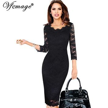 Vfemage Womens Elegant Lace See Through 3/4 sleeve Slim Casual Party Evening Special Occasion Pencil Sheath Bodycon Dress 3193