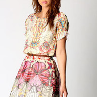 Alesha Butterfly Print Waisted Dress at boohoo.com