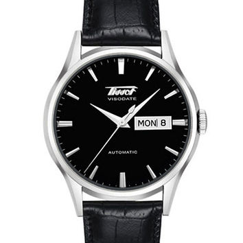 Tissot Men's Visodate Black Automatic Leather Strap Watch