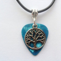 """Turquoise Guitar pick necklace with tree of life charm that is adjustable from 18"""" to 20"""""""