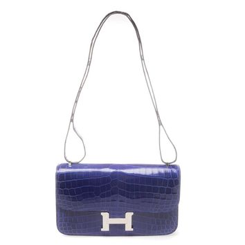 Hermès 25cm Blue Electric Crocodile Constance Elan Bag