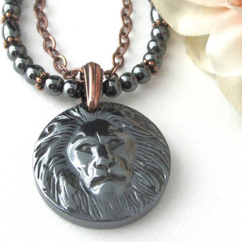 Great Spirit Lion Head Pendant Necklace, Hematite Gemstone Necklace With Copper Chain