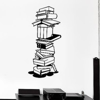 Wall Stickers Vinyl Decal Books Library Bookworm School Science Student (ig1592)
