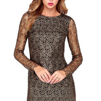 Gold Cut Out Lace Long Sleeve Shift Dress