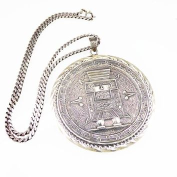 Huge Mexican Sterling Silver Pendant & Chain Necklace,  Aztec Calender with Warrior or King Signed 925 w/ Assy Bell #85, Vintage 1960s 1970s