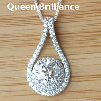 Queen Brilliance Genuine 14K 585 White Gold 1 Ct G-H White Clear Lab Grown Moissanite Halo Pendant Necklace Diamond Fine Jewelry