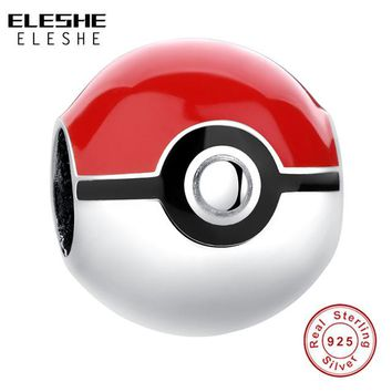 Real 925 Sterling Silver Pikachu Elf Bead Pokemon Ash Ball Charm Fit Original ELESHE Bracelet Authentic Jewelry Accessories