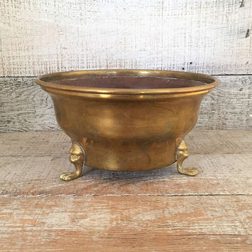 Brass Planter Brass Bowl Footed Plant Pot Vintage Garden Container Brass Flower Pot Brass Outdoor Planter Mid Century Planter Indoor Planter