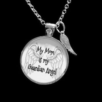 My Mom Is My Guardian Angel Wing In Memory Heaven Necklace