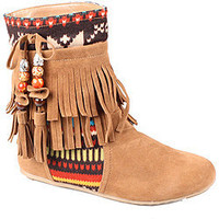 Refresh by Beston Women's 'Mini-03' Chestunt Fringe Boots | Overstock.com