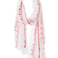 Embroidered Scarf With Pom Poms