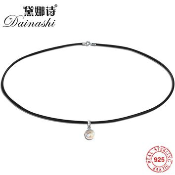 Dainashi 100% Natural Freshwater Pearl Pendants 925 Sterling Silver Necklace Black Simulated Leather Choker Necklaces for Women