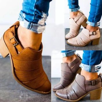 Chunky Mid Heel Strappy Bootie