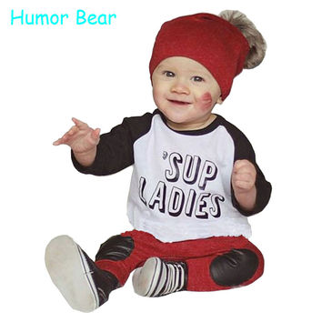 Humor Bear Baby Boy Clothes 2016 Autumn Casual Boys Clothing Set Letter Long-sleeved + Red Pants Suit Infant Garment