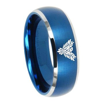8MM Brush Blue Dome Phoenix Tungsten Carbide 2 Tone Laser Engraved Ring