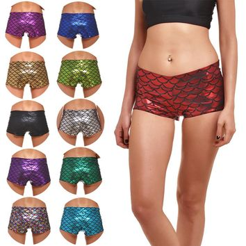 Fish Scale Printed Yoga Shorts, Sexy Stretch Leggings, Fitness Running shorts, Women's Sexy Hot shorts, Free Shipping