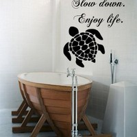 Wall Decals Vinyl Decal Sticker Quote Slow Down Enjoy Life Turtle Sea Ocean Animals Bathroom Living Room Home Interior Design Kg842