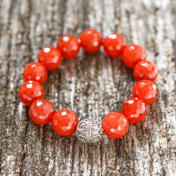 Carnelian Sterling Silver Statement Bracelet Faceted Red Beadwork Bracelet Boho Bracelet Genuine Gemstone Bracelet Quality Bead Bracelet