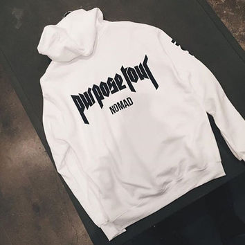 Justin Bieber Purpose Tour Pop Up Shop Merch White Nomad Hoodie