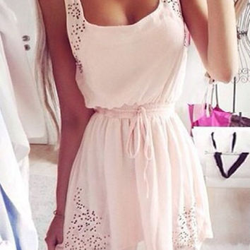 Light Pink Sleeveless Waist Drawstring Dress