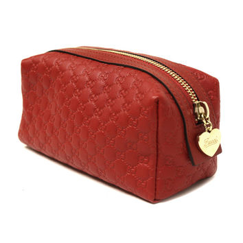 Gucci Red Leather Makeup Case