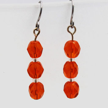 Tangerine Faceted Glass Bead Dangle Earring by SeventhChild