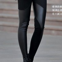*Free Shipping* Black Ladies Faux Leather Leggings One Size YL873225b from efoxcity