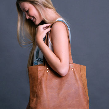 MIRI Brown Leather Tote Bag - Brown Leather Shoulder Bag - Leather Market Bag - Brown Leather Tote Bag