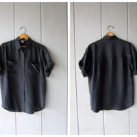 Slouchy Black Silk Blouse 90s Vintage Button Up Silk Tshirt Basic Minimal Button Down Silk Shirt Loose Fit Modern Top DES Mens XS