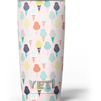 The All Over Pink Ice Cream Cone Pattern Yeti Rambler Skin Kit